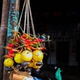 Le citron et les piments ont attaché photo stock