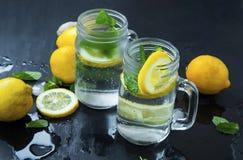 Le citron frais a infusé les boissons de l'eau ou de soude en verres avec la menthe, l Images libres de droits