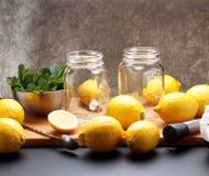 Le citron jaune frais est prêt pour juicing photo stock