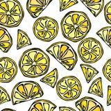 Le citron sans couture découpe le fond en tranches Modèle d'agrume Illustration de vecteur de style de griffonnage Images libres de droits
