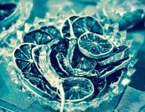 Le citron sec découpe le décor en tranches Images libres de droits