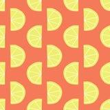 Le citron stylisé découpe le rouge en tranches sans couture de modèle de vecteur illustration stock
