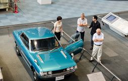 Le classique de Toyota Celica de cru a montré au musée commémoratif de Toyota de l'industrie et de la technologie photo libre de droits