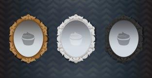 Le classique fleuri noir blanc de Hollywood de vintage d'or a encadré le miroir Élément de décoration intérieure Trois miroirs de Image libre de droits