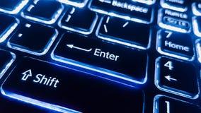 Le clavier au néon avec entrent dans le bouton Images stock