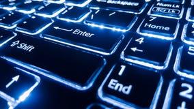 Le clavier au néon avec entrent dans le bouton Foyer sur Images libres de droits