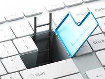 Le clavier avec l'uder de passage souterrain et d'échelle introduisent la clé Photos libres de droits