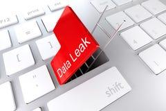 Le clavier avec le rouge écrivent la fuite de données d'échelle de passage souterrain de trappe de clé Photo libre de droits