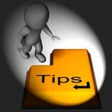 Le clavier d'astuces signifie des conseils et des suggestions en ligne Image stock