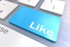 Le clavier d'ordinateur avec media social aiment le concept de bouton illustration stock