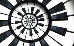 Le clavier de piano a imprimé le fond abstrait de modèle de cercle de fractale de musique Clés rondes de piano noir et blanc PA h images libres de droits