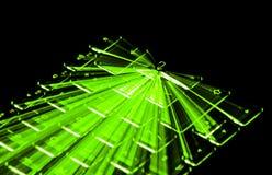 Le clavier lumineux par vert, traînées de lumière introduisent autour la clé, fond noir illustration stock