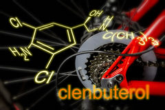 le clenbuterol est un agent de dopage dans différentes disciplines de sports comme le recyclage, la formule chimique CLENBUTEROL Images libres de droits