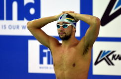 LE CLOS Chad RSA. Hong Kong, China - Oct 29, 2016. Olympic and world champion swimmer LE CLOS Chad RSA at the start of the Men`s Butterfly 100m Preliminary Heat Stock Photography