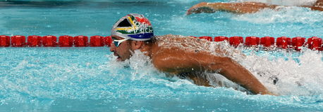 LE CLOS Chad RSA. Hong Kong, China - Oct 29, 2016. Olympic and world champion swimmer LE CLOS Chad RSA swimming in the Men`s Butterfly 100m Preliminary Heat Stock Image