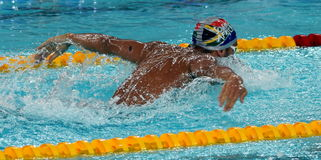 LE CLOS Chad RSA. Hong Kong, China - Oct 29, 2016. Olympic and world champion swimmer LE CLOS Chad RSA swimming in the Men`s Butterfly 100m Preliminary Heat Royalty Free Stock Photos