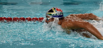 LE CLOS Chad RSA. Hong Kong, China - Oct 29, 2016. Olympic and world champion swimmer LE CLOS Chad RSA swimming in the Men`s Butterfly 100m Preliminary Heat Stock Photography