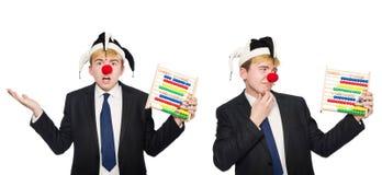 Le clown avec l'abaque d'isolement sur le blanc Image libre de droits
