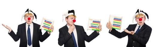 Le clown avec l'abaque d'isolement sur le blanc Images stock