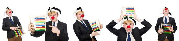 Le clown avec l'abaque d'isolement sur le blanc Photo libre de droits