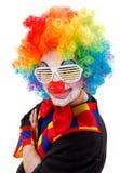 Le clown avec l'obturateur drôle blanc ombrage des lunettes de soleil Image stock