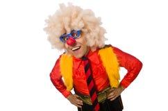 Le clown drôle dans le concept d'amusement d'isolement sur le blanc Photo libre de droits