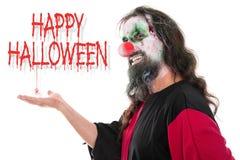 Le clown rampant d'und laid regardant au spectateur, textotent heureux sanctifient images libres de droits