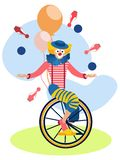 Le clown sur un vélo jongle Dans le vecteur plat de bande dessinée minimaliste de style illustration stock