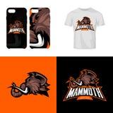 Le club de sport furieux de tête de mammouth laineux a isolé le concept de logo de vecteur illustration stock