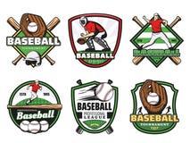 Le club et l'équipe de sport de ligue de base-ball badge des icônes illustration libre de droits