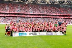 Le club sportif De Bilbao pose pour la presse Image stock