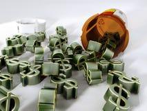 Le coût de médicaments délivrés sur ordonnance Photo stock