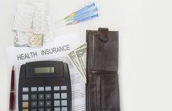 Le coût d'assurance médicale maladie est très haut de nos jours image stock