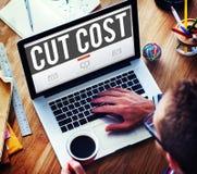 Le coût de coupe réduisent le concept de finances d'économie de déficit de récession Images libres de droits