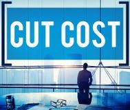 Le coût de coupe réduisent le concept de finances d'économie de déficit de récession Photo libre de droits