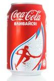 Le Coca-Cola peut avec Sotchi 2014 symbolique Photo stock