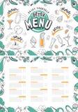 Le cocktail boit le menu illustration stock