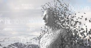 Le code binaire blanc et le mâle blanc AI contre la montagne neigeuse complète Photo libre de droits
