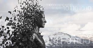 Le code binaire blanc et le mâle noir AI contre la montagne neigeuse complète Photos stock
