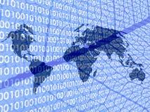 le code binaire détaille le monde de carte de lame Photographie stock libre de droits