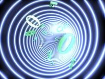 Le code binaire vole dans un tunnel brillé illustration de vecteur