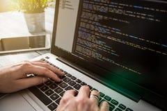 Le codeur de calcul de programme de code de codage développent le développement de promoteur image libre de droits