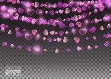 Le coeur allume les éléments réalistes de conception Design de carte rougeoyant de salutation de vacances de lumières Décorations illustration de vecteur