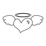 Le coeur avec des ailes d'ange a isolé l'icône Image libre de droits