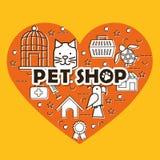 Le coeur avec le magasin de bêtes a placé des icônes illustration stock