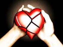 Le coeur brisé dans la main d'une femme illustration stock