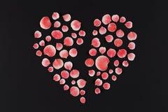 Le coeur brisé fait de pétales sur le fond foncé Photographie stock libre de droits