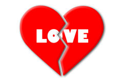 Le coeur brisé rouge avec amour blanc sur le fond blanc d'isolement Photos stock