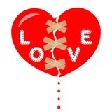 Le coeur brisé rouge avec l'amour d'inscription, bande attachée du ruban adhésif et collante Goutte de sang Vecteur illustration de vecteur