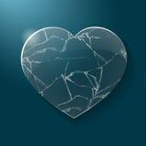Le coeur brisé fait à partir du verre Image libre de droits
